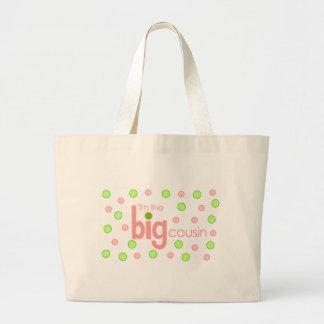 Polkadot pink and green Big Cousin T-shirt Large Tote Bag