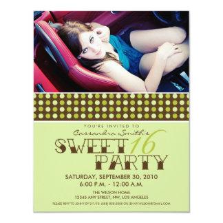PolkaDot Sweet 16 Birthday Party Invite (lime)