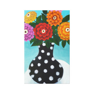 Polkadot Vase with Zinnias Canvas Print