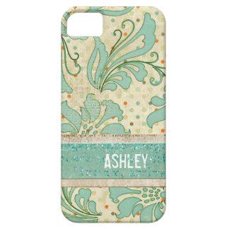 Polkadot y caja floral azul del iPhone del damasco Funda Para iPhone 5 Barely There