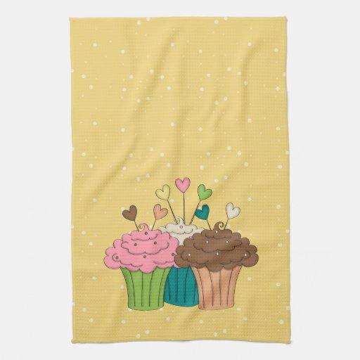 Polkadots and Cupcakes Hand Towel