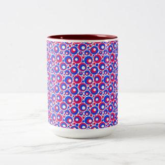 Polkadots azul blanco rojo taza de café