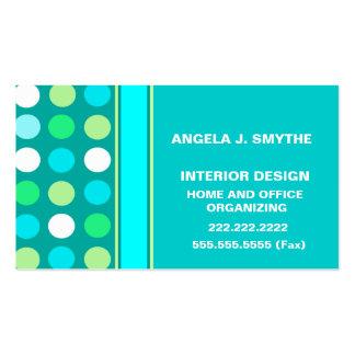 Polkadots azul, blanco y verde tarjeta personal