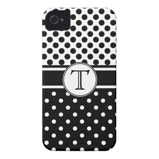 Polkadots blanco y negro con el monograma iPhone 4 funda