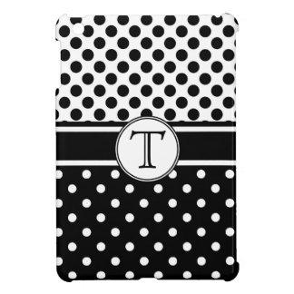 Polkadots blanco y negro con el monograma iPad mini cárcasa