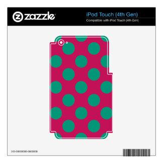 Polkadots magenta y verde intrépido calcomanías para iPod touch 4G