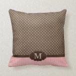 Polkadots marrones rosados + raya la almohada del