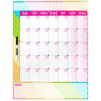 Polkadots on Rainbow Stripes - Dry Erase Calendar Dry-Erase Whiteboards