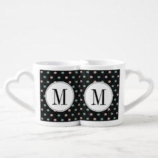 polkadots pink  yell owgreen macarons .ai lovers mug sets