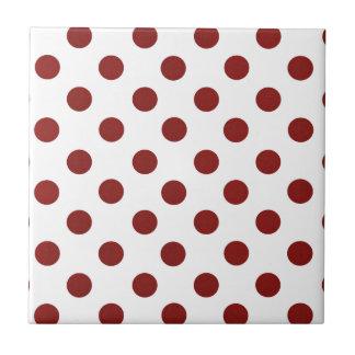 Polkadots rojo y blanco azulejo cuadrado pequeño