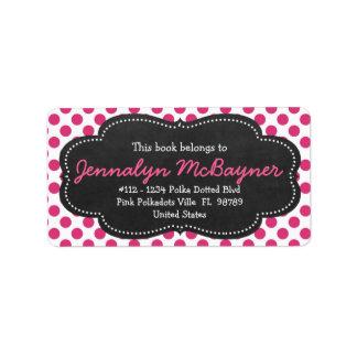 Polkadots rosado femenino lindo etiqueta de dirección