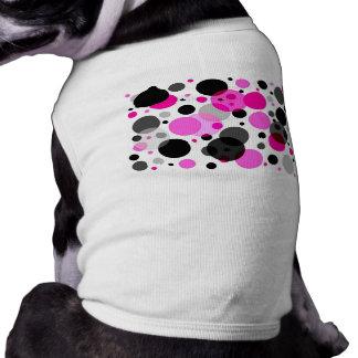 Polkadots rosado, negro, gris playera sin mangas para perro