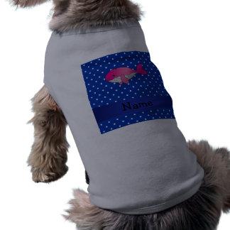Polkadots rosados conocidos personalizados del playera sin mangas para perro