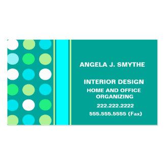 Polkadots verde, azul, y blanco plantilla de tarjeta de visita