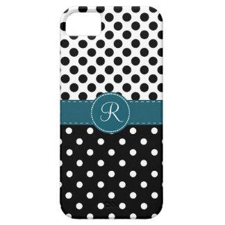 Polkadots y monograma cosido trullo de la cinta iPhone 5 Case-Mate coberturas