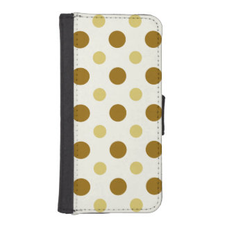 Polkadots Yellow and Brown iPhone SE/5/5s Wallet Case