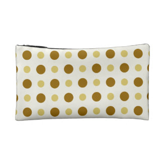 Polkadots Yellow and Brown Makeup Bag