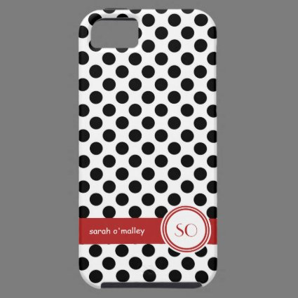 Polkadotted Black White and Red Personalized Name iPhone 5 Covers