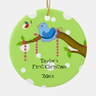 Polkda Dot Baby's First Christmas Ceramic Ornament