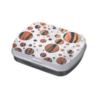 Polks Dot Tiger Hot orange and Black Print Candy Tin