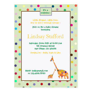 Polks Dots giraffes- baby shower invites(green) Postcard