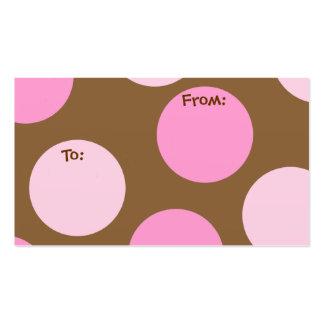 Polks rosado puntea etiquetas del regalo tarjetas de visita