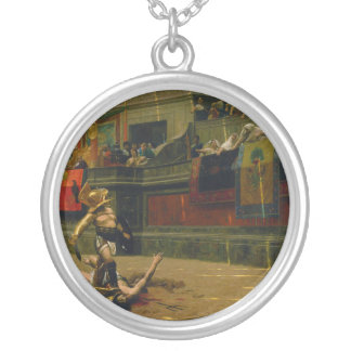 Pollice Verso Turned Thumb by Jean Leon Gerome Round Pendant Necklace