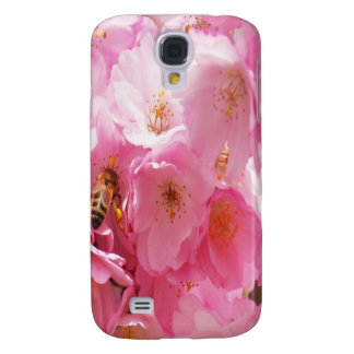 POLLINATING BEE PURPLE FLOWER GALAXY S4 CASE