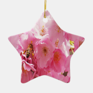 POLLINATING BEE PURPLE FLOWER CHRISTMAS ORNAMENTS