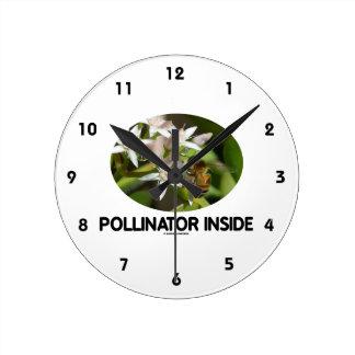 Pollinator Inside (Bee On White Flower) Round Clock