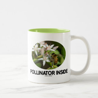 Pollinator Inside (Bee On White Flower) Two-Tone Coffee Mug