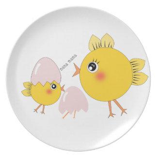 pollitos plato de comida