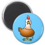 Pollo alegre imán redondo 5 cm
