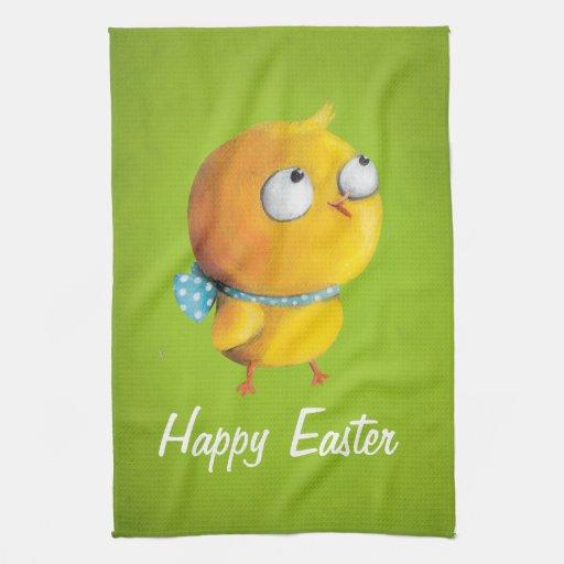 Pollo amarillo de Pascua con la cinta Toalla De Mano