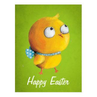 Pollo amarillo de Pascua con la cinta Tarjeta Postal