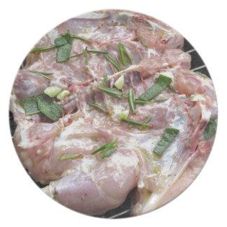 Pollo asado a la parilla en la parrilla platos