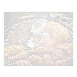 Pollo asado a la parrilla delicioso plantilla de membrete
