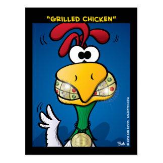 Pollo asado a la parrilla tarjetas postales