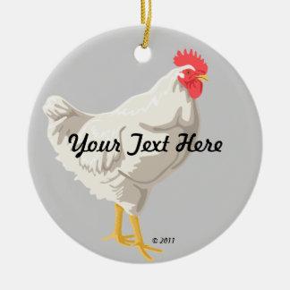 Pollo blanco adorno redondo de cerámica