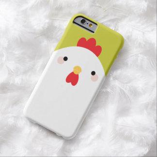 Pollo blanco del estilo de Kawaii en verde Funda De iPhone 6 Barely There