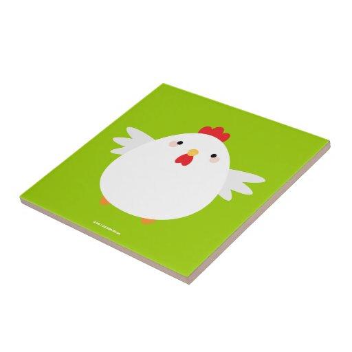 Pollo blanco en la baldosa cerámica verde azulejo cuadrado pequeño