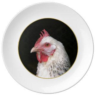 Pollo blanco platos de cerámica