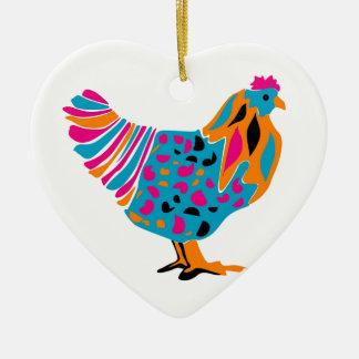 Pollo brillante enrrollado adorno navideño de cerámica en forma de corazón