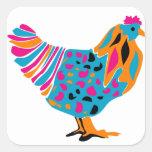 Pollo brillante enrrollado calcomanía cuadradase