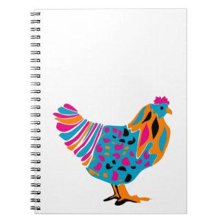 Pollo brillante enrrollado libro de apuntes con espiral