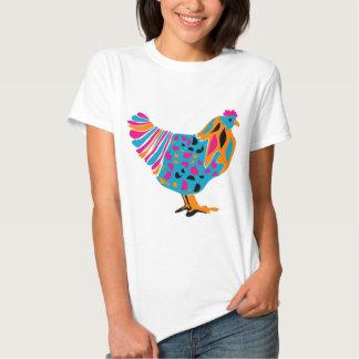 Pollo brillante enrrollado playera