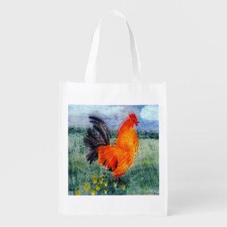Pollo colorido del gallo bolsas de la compra