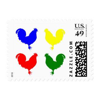 Pollo colorido estampillas