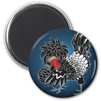 Pollo con cresta polaco oscilante imán redondo 5 cm