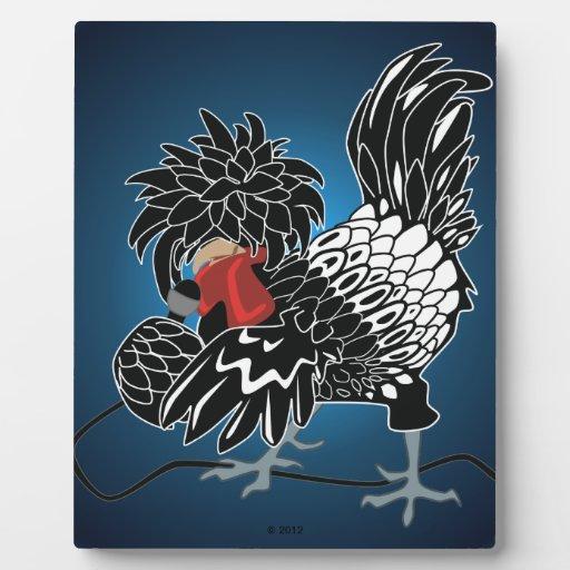 Pollo con cresta polaco oscilante placa de madera